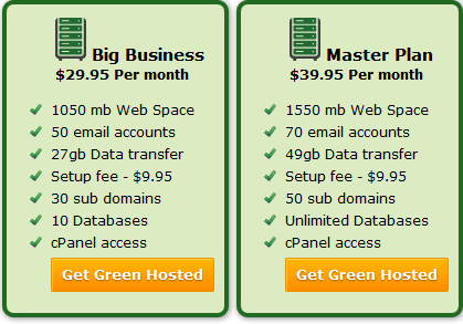 Big Business & Master Hosting plans