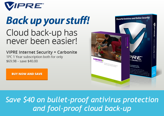 VIPRE Internet Security 2015 & Carbonite discount