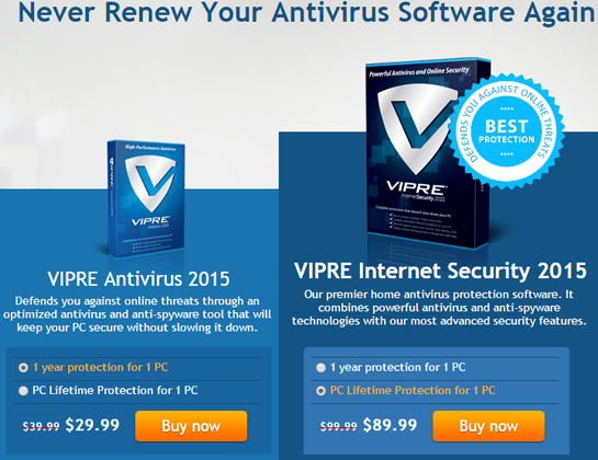 Vipre 1 yr or PC Lifetime Discount